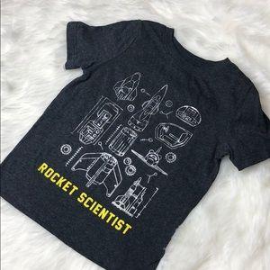 "4T ""Rocket Scientist"" grey tee shirt toddler"